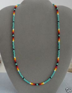 Image detail for -Turquoise Beaded Mens Womens Necklace Native American | eBay