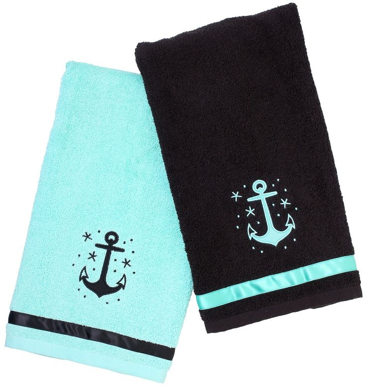 SOURPUSS ANCHOR BATHROOM HAND TOWEL SET - All hands on deck... and on these great towels! These super soft, terry cloth towels compliment any ship or home bathroom!