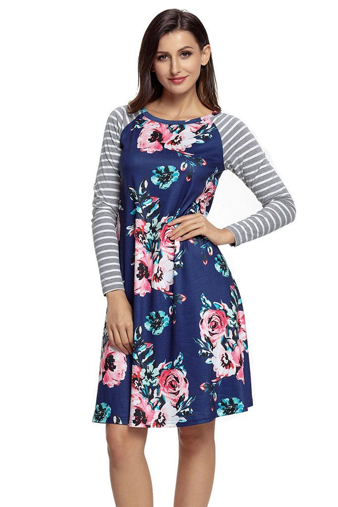 Dark Blue Floral Print Stripe Raglan Long Sleeve Dress MB61670-105 – ModeShe.com