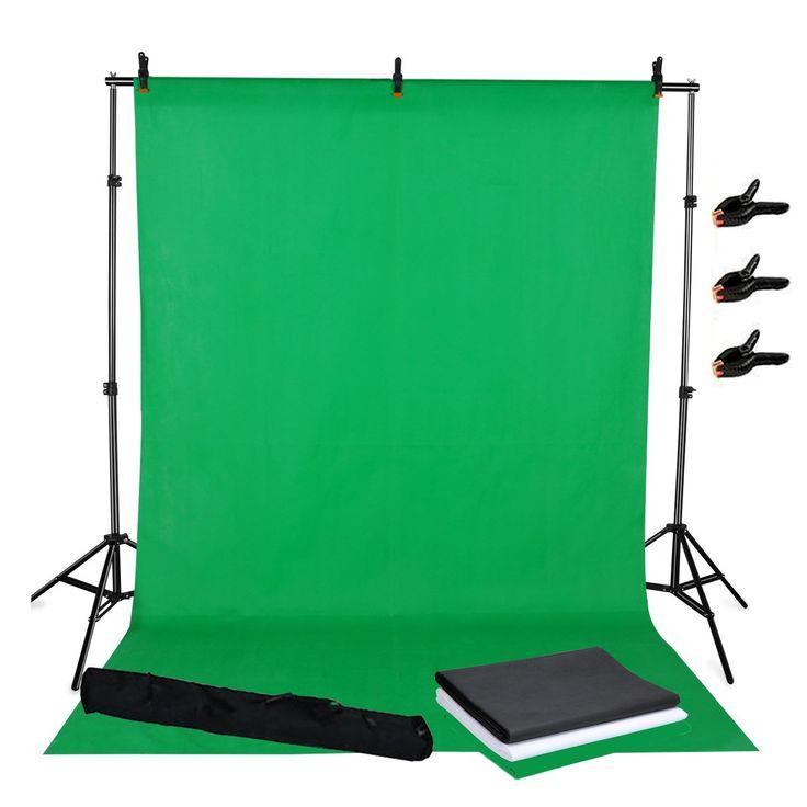 BPS 3.2x1.6m Fondale Fotografico kit Sfondo Supporto alluminio+Sfondi Di 3.2x1.6m Tessuto non tessuto Nero,Bianco,Verde +Una Borsa per il trasporto sono Studio Fotografico Professionale Kit