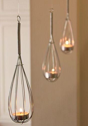 Whisk + Tea Lights = Super Cute Lighting Idea!