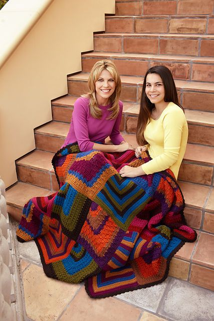 The Mitered Diamonds Throw is a pretty free crochet blanket pattern from Lion Brand. It uses two dozen balls of Vanna's Choice yarn.