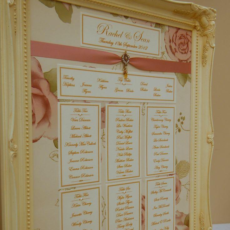 #Vintage #Wedding #VintageWedding #TablePlan #Frame #Pearls #Yarm Calligraphy - Visit www.yarmcalligrap... to view more of our lovely vintage inspired Table Plans
