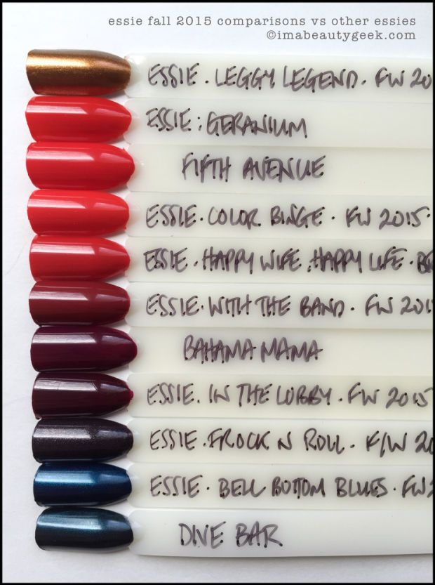 Essie Fall 2015 Comparison Swatches All The Swatches At Imabeautygeek Com Comparison