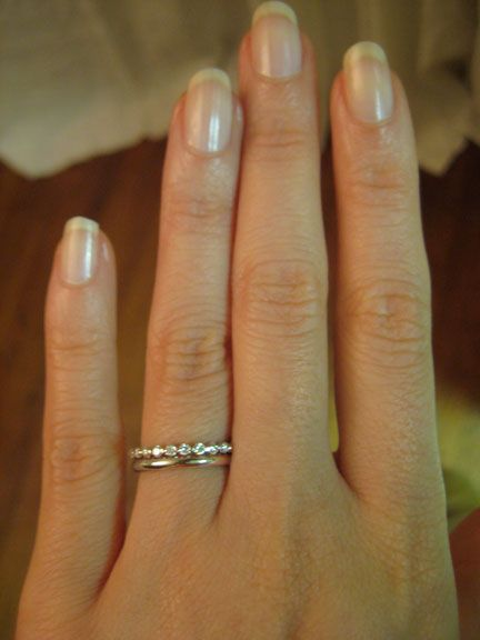 plain band plus eternity. What if I got a blingy band as engagement ring then plain band as wedding ring and just layered them like this?