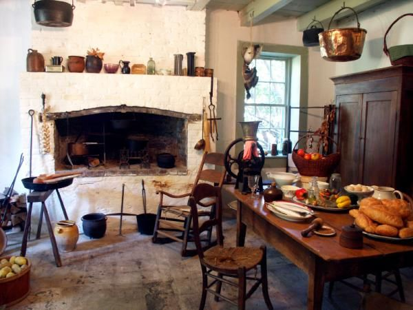This Colonial kitchen conveys some of the feeling of Lisette's kitchen at the CoffeeHouse.