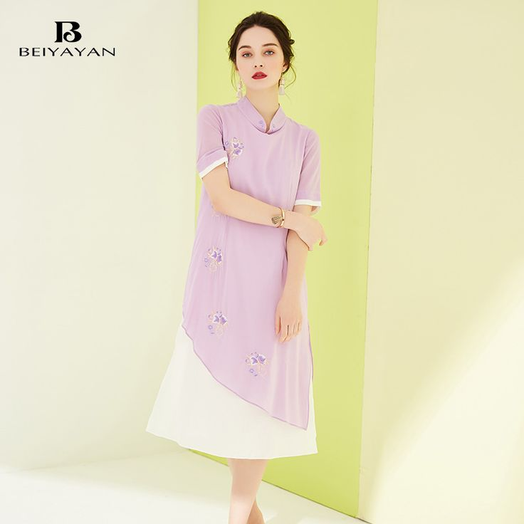 BEIYAYAN Chinese Style Vintage Dresses Women Mandarin Collar Patchwork Embroidery Silk Dress Loose