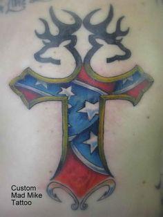 Rebel Flag Cross - Cool Rebel Flag Tattoos, http://hative.com/30-cool-rebel-flag-tattoos/,