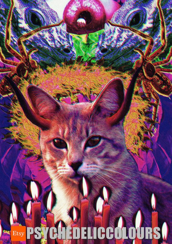 Pussy from Hell Selah, the Goddess of Fire - Printable Psychedelic Poster!  Selah is a one mean pussy! And she is a feisty one! She knows shes the IT while shes casually strolling trough hell. Shes a definition of a badass, because she doesnt necessary look like one, she just behaves like one. Be the biggest baddass on the block and hang a digital poster of psychedelic kitty on you living room wall! Shes here to command attention and you deserve a little sidekick in your house where youre…