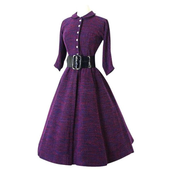 Vintage Turn Down Collar Long Sleeve A Line Dress For Women (£24) ❤ liked on Polyvore featuring dresses, short dresses, purple, vintage, long sleeve vintage dresses, vintage a line dress, long sleeve a line dress, purple a line dress and long sleeve purple dress