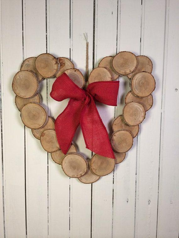 Wood Heart Wreath Wedding Wreath Wood Slice by marigoldsdesigns