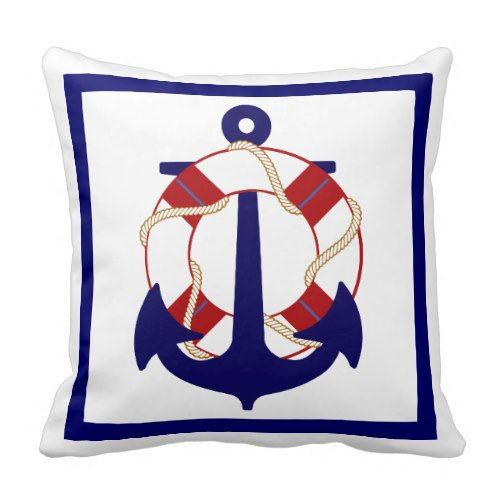 Decorative Throw Pillows – Nautical Throw Pillows Decorative nautical throw pillows allow you to revive and breathe new life into your home. They provide you with a means of adding a bit of color and comfort to complement a couch or chair PixDezines anchor/diy colors/nautical Throw Pillow