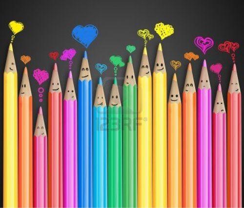 happy colored pencils