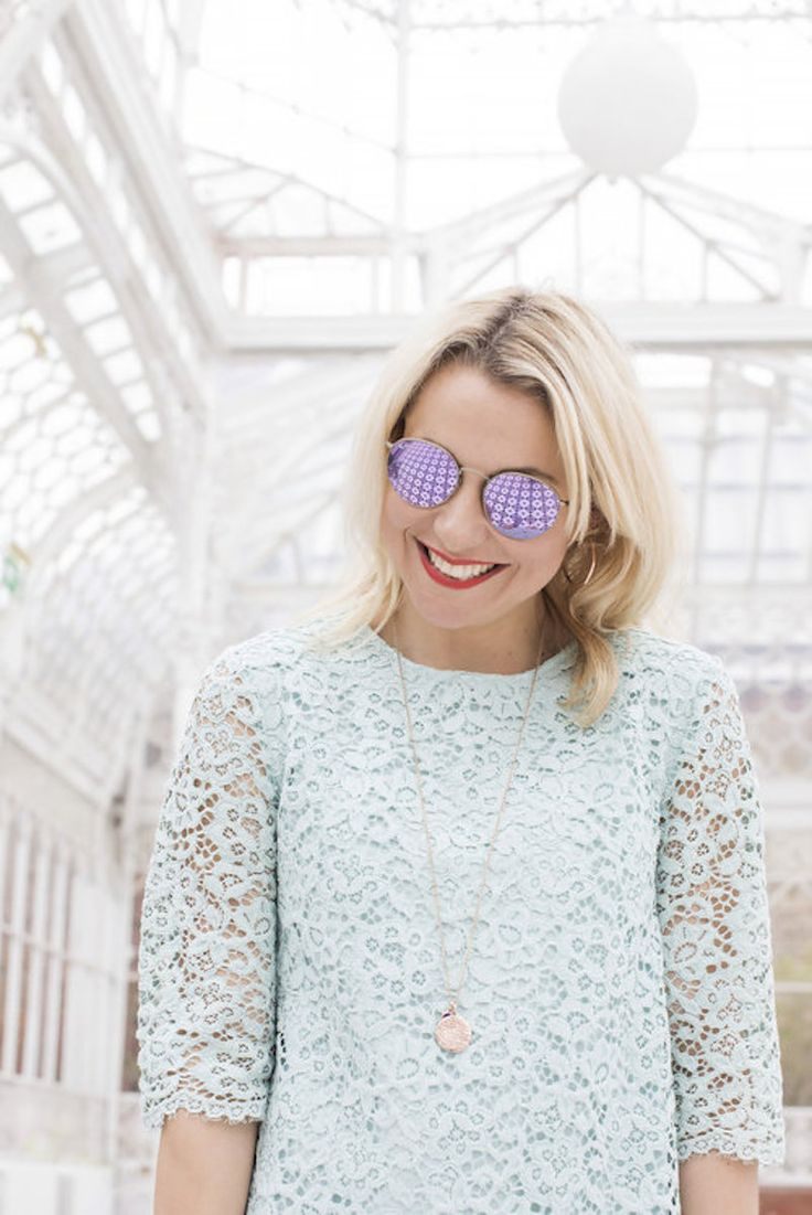Zoe de Pass, of Dress Like a Mum looking super cute and summery in her rose gold Facet Hoops paired with a pastel blue lace dress and polarised sunglasses.