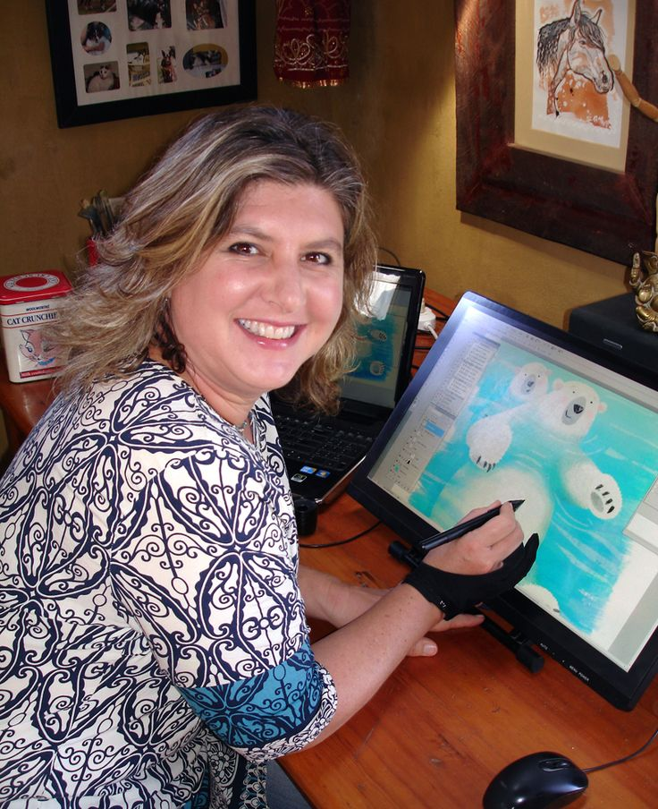 Chantelle busy with a polar bear illustration.