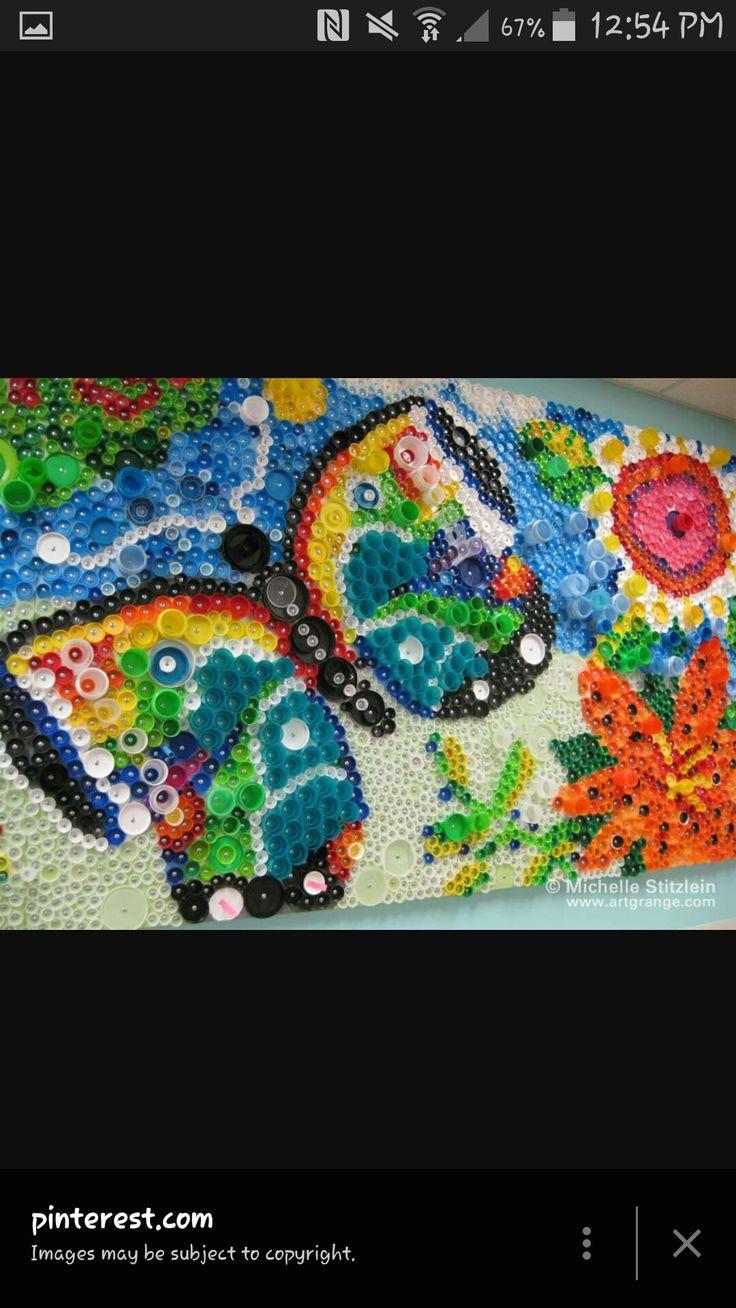 51 best Bottle Cap Mosaics images on Pinterest | Bottle cap art ...