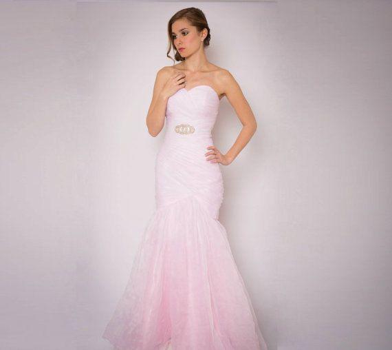 Blush Wedding Dress - Couture Wedding Gown - Colored Wedding Dress Pink, Blue, Green, Yellow, Orange, Purple