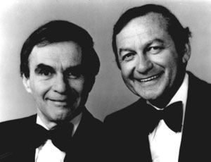 """Wayne and Shuster.    """"Well I see by the clock on the wall, that it's time to wish you, one and all, goodbye. So long. Farewell. Adieu. Be good. Stay Well. Bye Bye. Keep Warm. Relax. At Ease. Take Care. Stay Loose.  Adieu mon vieux. A la prochaine. Goodbye 'til when we meet again!"""""""