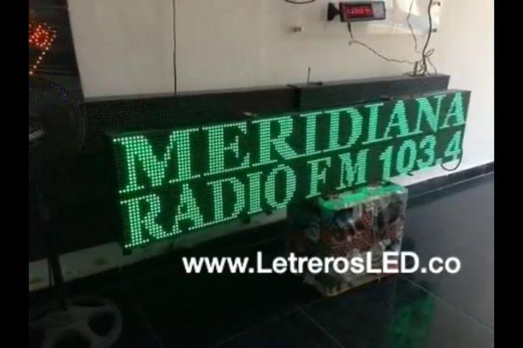 Aviso LED Programable. Tamaño: 32x160cm. Color: Mono-Color Verde