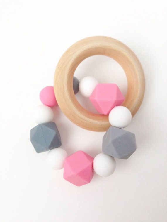 Silicone Teething Rattle Teething Ring Pink by TheTeethingFairy