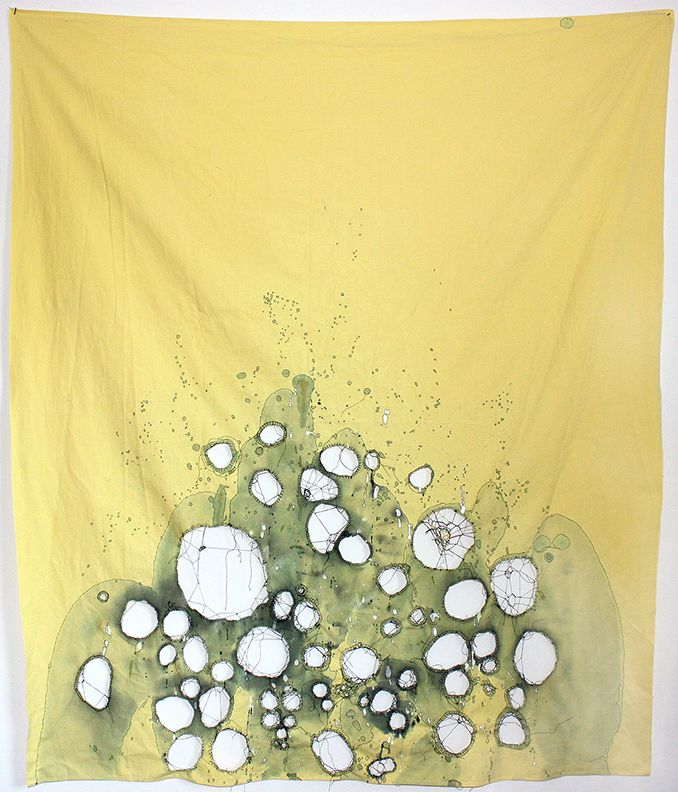 """""""Yellow Cloth"""" by NAVA LUBELSKI :: Thread on stained tablecloth :: http://www.navalubelski.com/"""