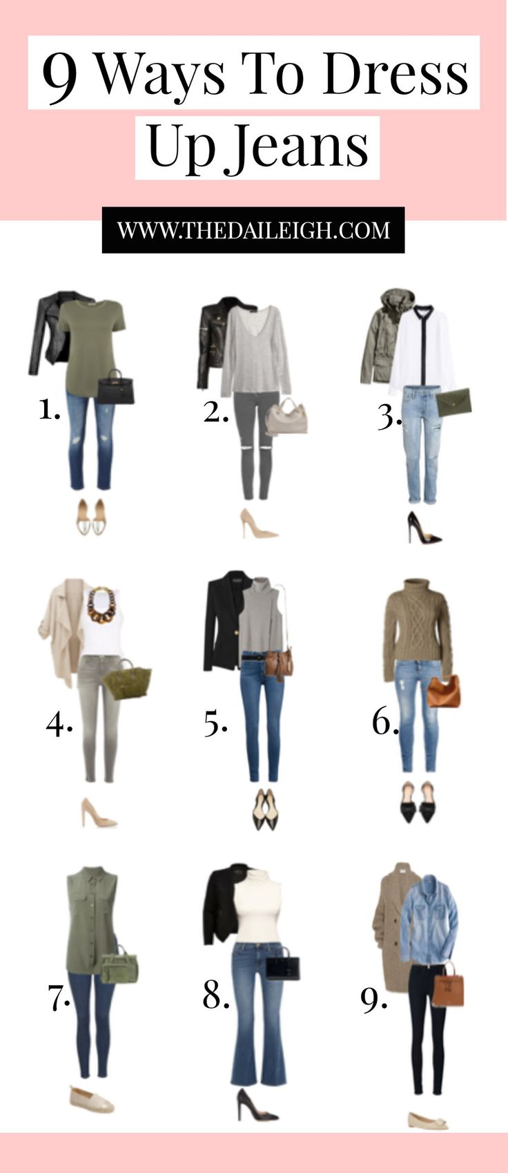 We all own a pair or two of jeans, right? I mean this is the one item we can always grab when in a rush and it'll work.  Jeans may seem like the easiest thing to wear.  But even the most casual and basic pieces can be dressed up to look more stylish and polished. These 9 outfits featured in this p