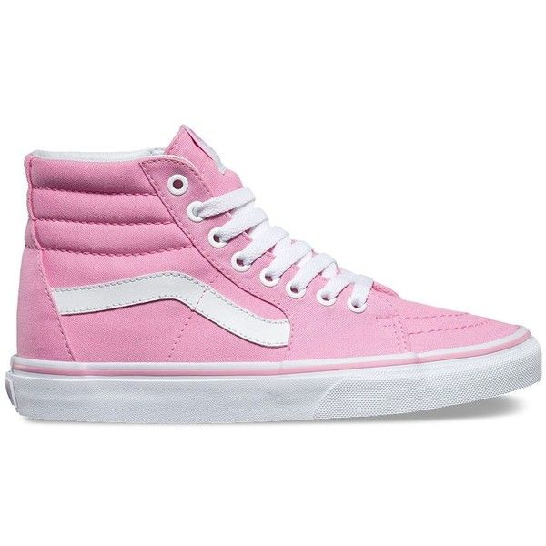 Vans Canvas Sk8-Hi ($60) ❤ liked on Polyvore featuring shoes, sneakers, pink, lace up shoes, pink high top sneakers, canvas shoes, vans shoes and pink sneakers