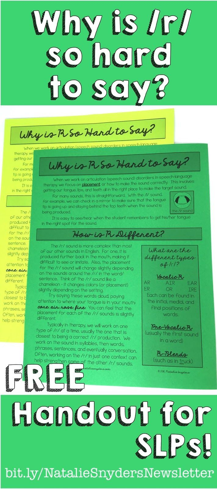 Why is the R Sound so Hard to Say? FREE handout for SLPs from Natalie Snyders