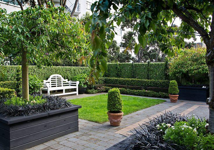 Formal city garden hedge garden design nursery photo for Courtyard landscaping pinterest