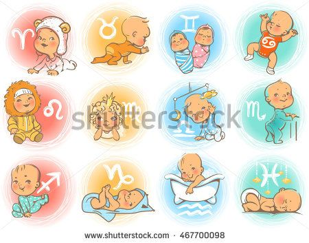 Set of zodiac icons. Horoscope signs as cartoon characters. Cute baby boys and girls as astrological symbol. Colorful vector illustration. Baby in diaper, crawling, sitting, smiling, sleeping baby.