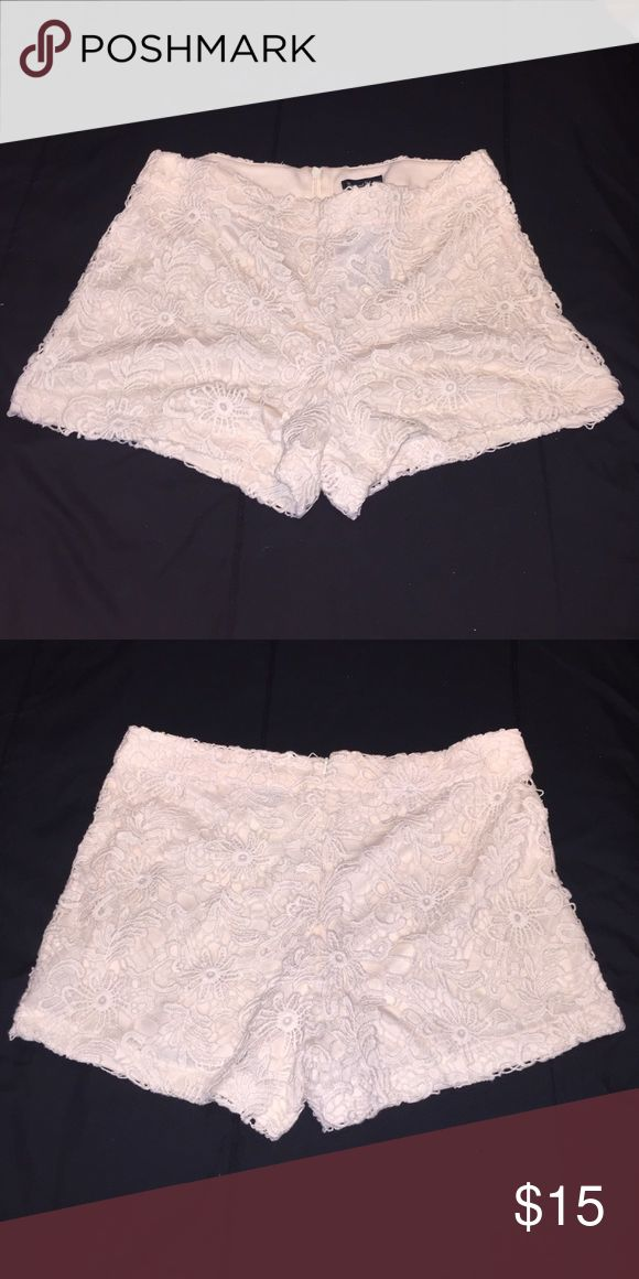 Laced Cream Shorts Laced cream shorts with zipper in the back, never worn. Shorts