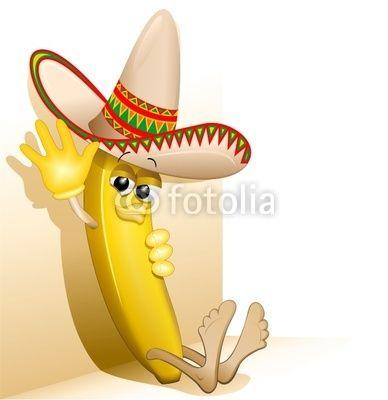 Banana Cartoon Mexico with Sombrero-Vector © bluedarkat
