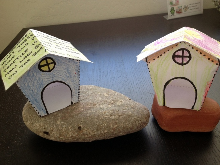 Love These Bible Study Crafts :) Build Your House On A Rock Craft!