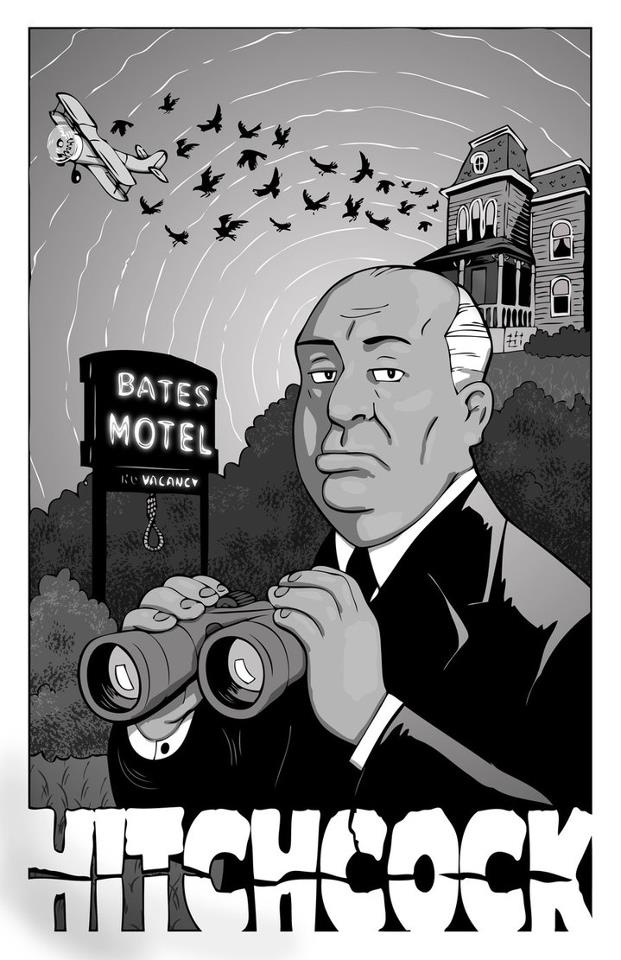 Hitchcock - Psycho, The Birds, North By Northwest, Rope and Rear Window. At least those are the references I see!