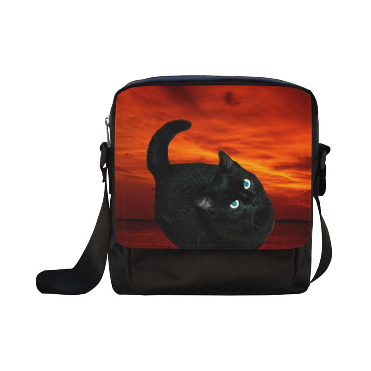 Black Cat Crossbody Nylon Bags (Model 1633)