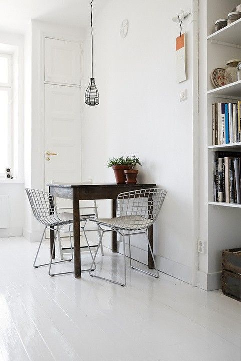 eames wire chairs.  scandinavian apartment.Dining Area, Dining Room, Kitchens Seats, Sweets Breakfast, Design Bedrooms, Make Furniture, Wire Chairs, Small Spaces, White Kitchens