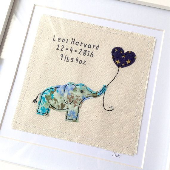 Personalised elephant framed wall art. Machine stitched fabric applique picture gift. Nursery, child, new baby, birthday
