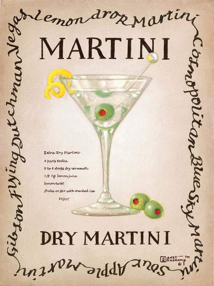 Dry Martini, an original painting  by artist Janet Kruskamp showing a clear single stem martini glass with a green olive, stirrer and lemon twist. The recipe for a dry martini is next to the glass.