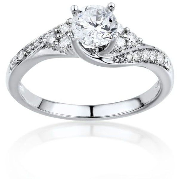 Belk  Co. White Gold 1 Ct. T.W. Diamond Engagement Ring In 14K White... ($6,983) ❤ liked on Polyvore featuring jewelry, rings, white gold, enhancer ring, 14k diamond ring, round cut rings, 14k engagement ring and white gold jewelry
