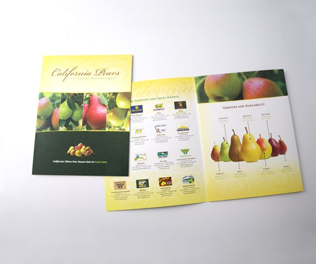 """Sales Collateral:  CA Pear Advisory Board.  Using category management research, this material breaks down data into easy to understand messages to improve category performance. Targeted to retail merchandising and buying executives the materials are designed to position California Pears as the only fresh """"local"""" pear in the domestic U.S market during the summer months of June and July thus providing a """"fresh start"""" to pear season."""