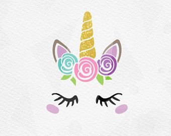 Unicorn with Roses SVG - Unicorn Head SVG - Unicorn Face SVG - Unicorn horn Birthday - Cricut Silhouette - pdf png svg - girls birthday