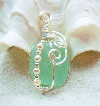 Sea Glass / Wire - The site this links to has nothing to do with sea glass or wire or jewelry as far as I can tell, but the idea is worth saving. I would love to credit the designer but don't know who it is. More