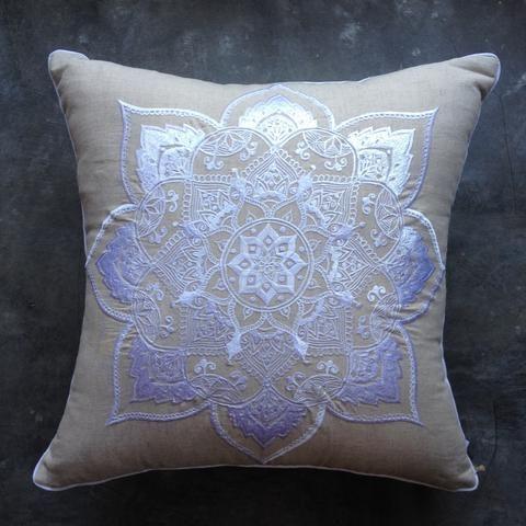 White Mandala Embroidered-Linen