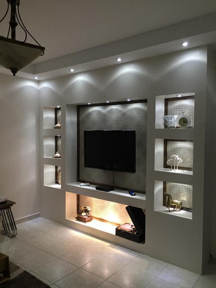 Parete attrezzata in cartongesso per un soggiorno moderno for Soggiorno design