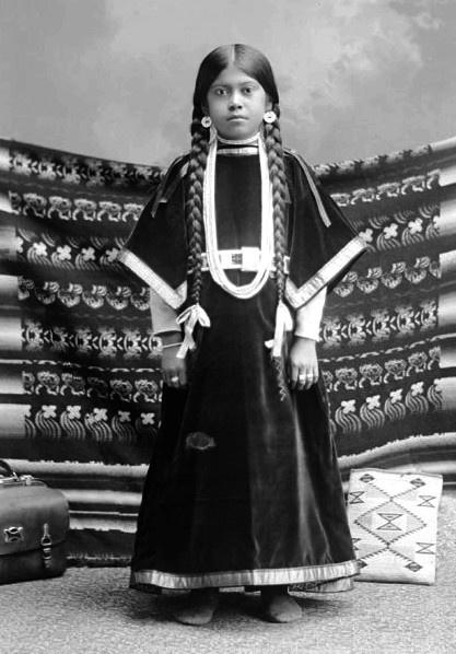 Nettie Morris, a young Nez Perce girl. Photo taken 1900. No location