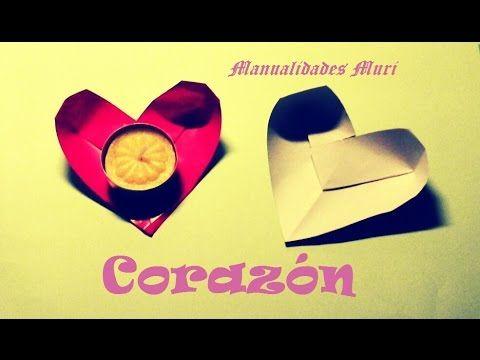 Origami - Papiroflexia. Corazón con hueco, úsalo para decorar poniendo c...