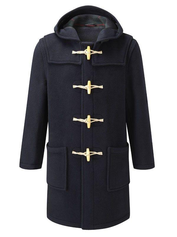 Mens Duffle Coat Classic -- Wooden Toggles - Navy Blue