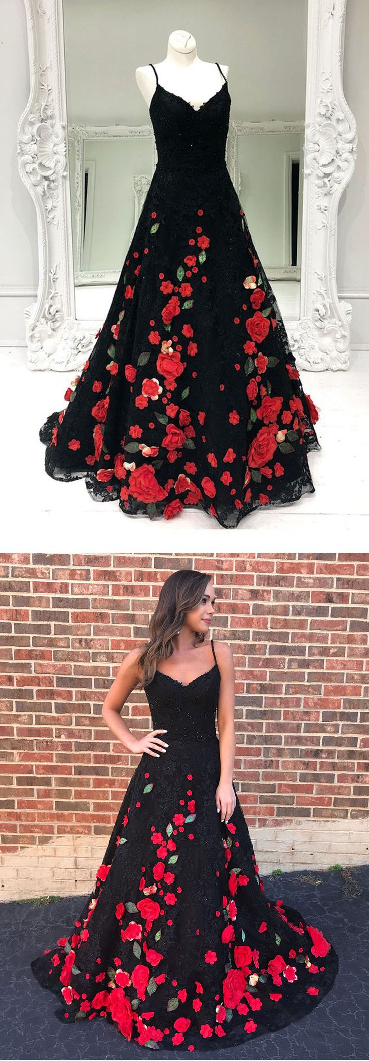 Gorgeous black flower lace long customize prom dress, black evening dress #prom #dress #promdress