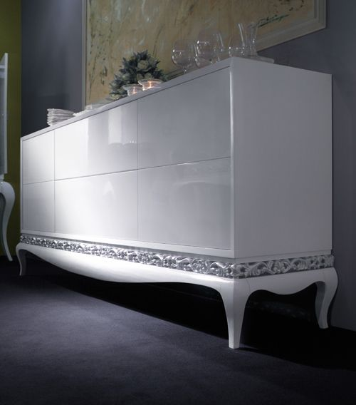 Modern Glamour Luxus white laquered sideboard with doors and drawers.