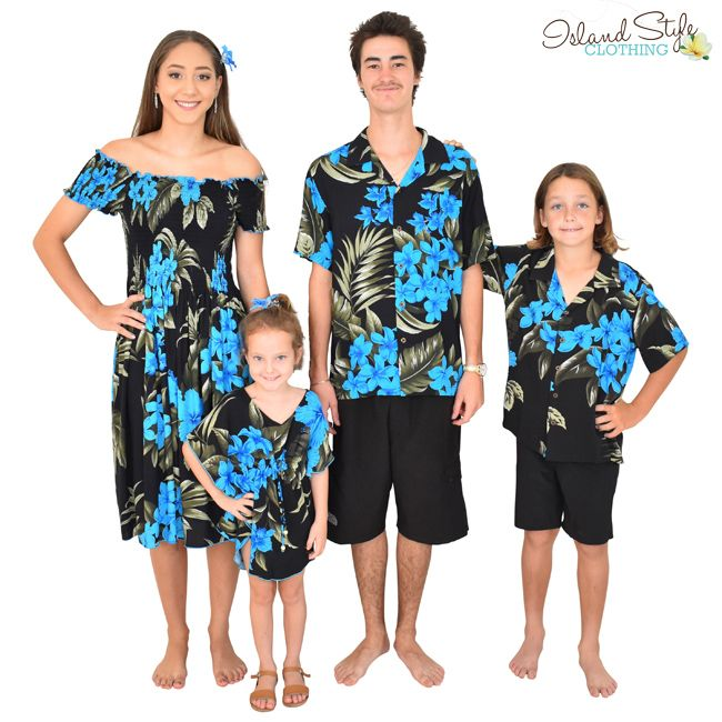 53728fd2d7af Gorgeous tropical prints to dress the entire family. Black & Blue Leaf -  Features frangipanis